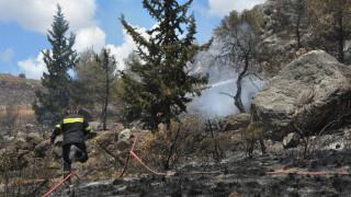 Σε εξέλιξη η πυρκαγιά στην Κορώνη - Σε απόσταση αναπνοής οι φλόγες από τα σπίτια (pics&vids)