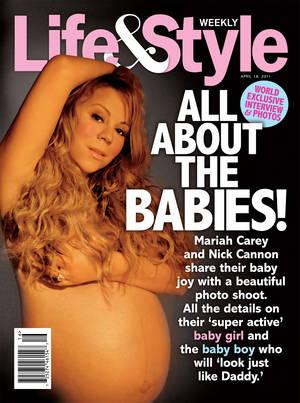 Mariah Carey, 2011. Η τραγουδίστρια πόζαρε κατά τη διάρκεια της δίδυμης εγκυμοσύνης της στα δίδυμα για το τεύχος Απριλίου του Life & Style.