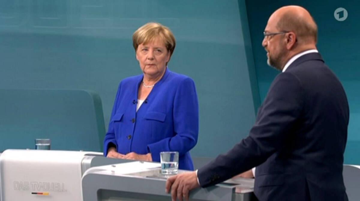 2017 09 03T194614Z 1432913385 RC149B64BF90 RTRMADP 3 GERMANY ELECTION MERKEL SCHULZ DEBATE
