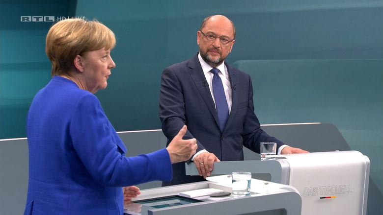 2017 09 03T194717Z 154066160 RC1B20B7CE80 RTRMADP 3 GERMANY ELECTION MERKEL SCHULZ DEBATE