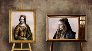 """Σάνσα Σταρκ όπως Άννα Νεβίλ.   Η νεαρή Σάνσα Σταρκ, η οποία έχει χάσει τα περισσότερα μέλη της οικογένειας της στον πόλεμο, είναι μία """"πολύτιμη"""" νύφη, ως η κληρονόμος του Βορρά. Η ίδια ήταν αρραβωνιασμένη με τον τυραννικό Τζόφρι, πριν παντρευτεί τον Τύρ"""