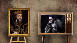 Τζον Σνόου όπως Γουλιέλμος ο Κατακτητής.     Ο Τζον Σνόου είναι ο νόθος γιος του Ένταρντ Σταρκ και κανείς δεν γνωρίζει ακόμη την αληθινή καταγωγή του. Ο Τζον είναι ένας εντυπωσιακός πολεμιστής, μαχητής και ηγέτης και ο βασιλιάς του Βορρά -αν και ο πατέρ