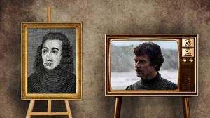"""Θίον Γκρέιτζοϋ όπως Γεώργιος,  Δούκας του Κλάρενς.  O Θίον Γκρέιτζοϋ πρόδωσε τον Ρομπ Σταρκ, ο οποίος δεν ήταν μόνο ο βασιλιάς του, αλλά κατ' ουσίαν και ο """"αδελφός"""" του.   Όπως αφηγείται και ο Σαίξπηρ στο δραματικό έργο του """"Βασιλιάς Ριχάρδος ο Γ'"""", ο"""