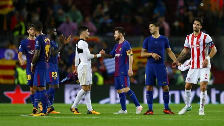 Champions League: Ήττα με 3-1 ο Ολυμπιακός από την Μπαρτσελόνα