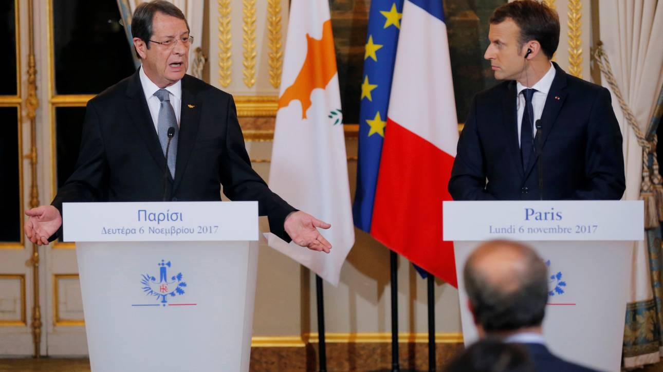 Μακρόν σε Αναστασιάδη: Η Γαλλία θα στηρίξει την Κύπρο στις διαπραγματεύσεις για το Κυπριακό