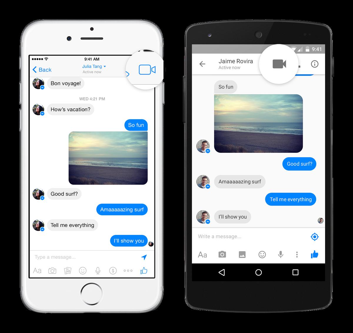 web messenger video call button