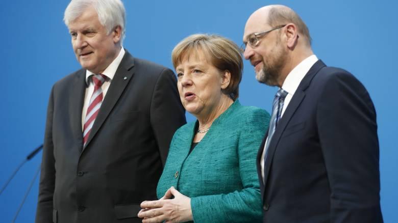 Κοινές δηλώσεις Μέρκελ-Σουλτς-Ζεεχόφερ μετά τη συμφωνία για τον Μεγάλο Συνασπισμό