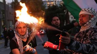 Πορεία αλληλεγγύης για την Παλαιστίνη έξω από την ισραηλινή πρεσβεία