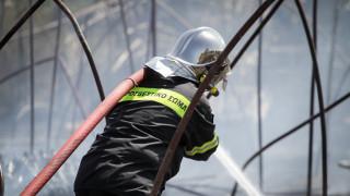 Μεγάλη φωτιά σε βιομηχανικό κτήριο στα Οινόφυτα Βοιωτίας