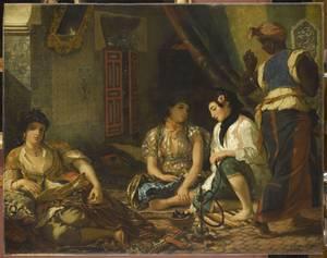"""""""Γυναίκες του Αλγερίου στο διαμέρισμά τους"""" (1833- 1834). Musée du Louvre, Paris © RMN-Grand Palais (musée du Louvre) / Franck Raux."""