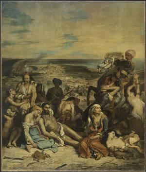 """""""Σκηνές από τη Σφαγή της Χίου""""(1824). Musée du Louvre, Paris © RMN-Grand Palais (musée du Louvre) / Stéphane Maréchalle / Adrien Didierjean."""