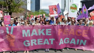 Πορεία διαδηλωτών στις Βρυξέλλες κατά του Ντόναλντ Τραμπ