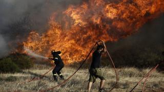 Ηράκλειο: Φωτιά μαίνεται σε δύσβατο σημείο