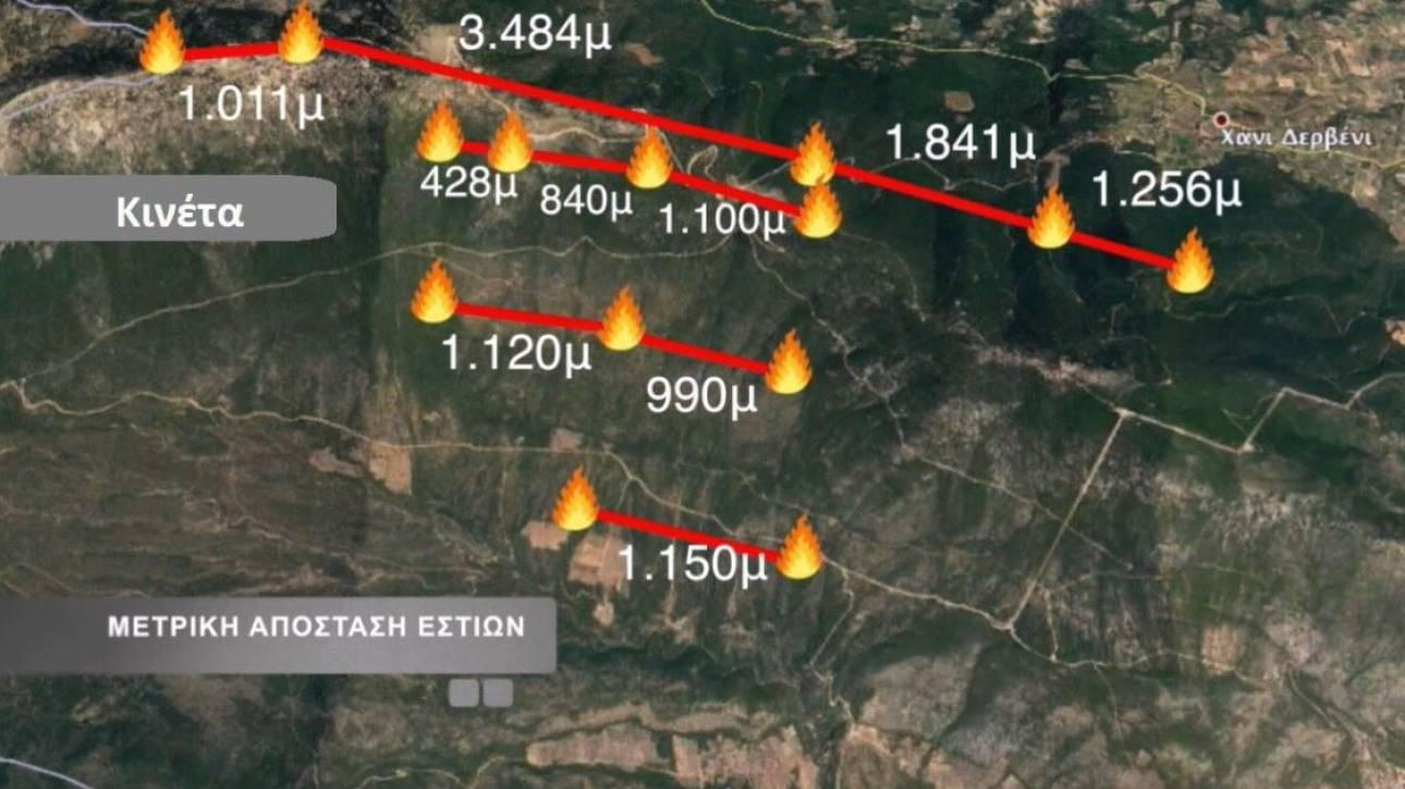 Σχεδόν ταυτόχρονη εκδήλωση θερμικών εστιών πυρκαγιάς σε Κινέτα και ανατολική Αττική
