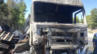 Φωτιά σε φορτηγό στην Εθνική Οδό Αθηνών - Λαμίας
