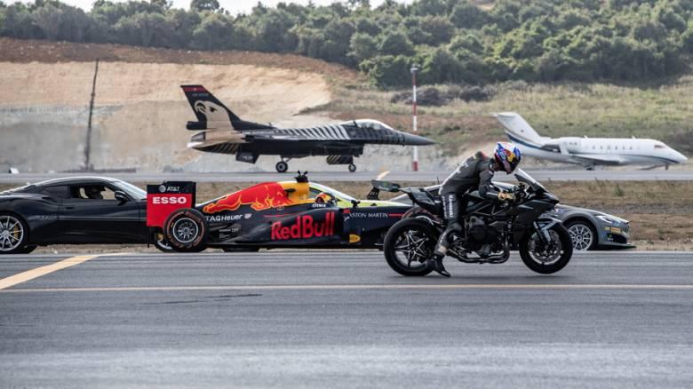 Ο απόλυτος αγώνας ταχύτητας ανάμεσα σε αυτοκίνητα, μοτοσικλέτα, μονοθέσιο F1, επιβατικό τζετ, F-16