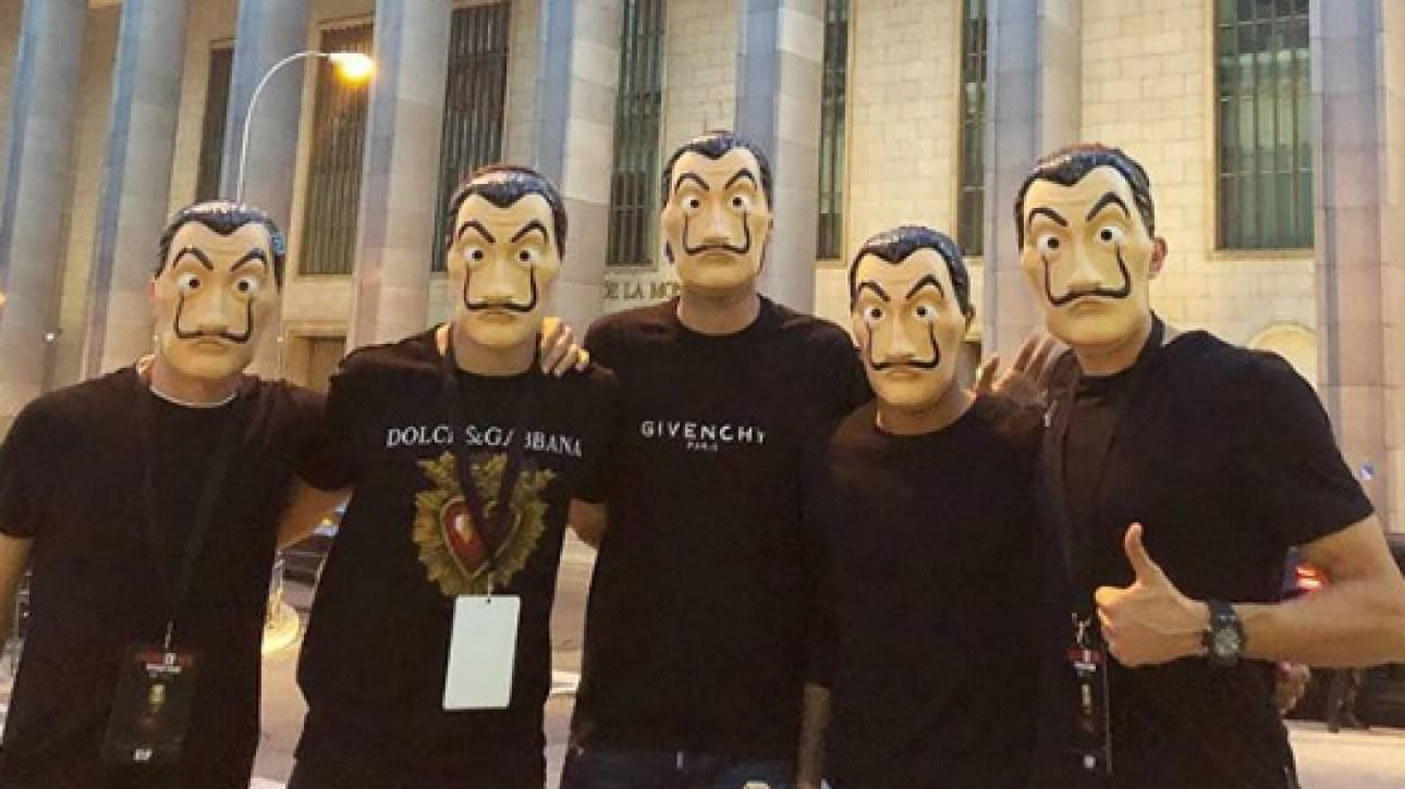 Ποδοσφαιριστές της εθνικής Ισπανίας πήγαν στο Νομισματοκοπείο με μάσκες La Casa de Papel