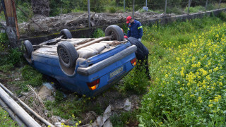 Σέρρες: Τροχαίο δυστύχημα με ανατροπή αυτοκινήτου