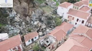 Εικόνες που «κόβουν» την ανάσα από την κατολίσθηση στη Μυτιλήνη