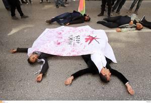 Συγκέντρωση διαμαρτυρίας Κούρδων μεταναστών στη Θεσσαλονίκη για την εισβολή στο Αφρίν.