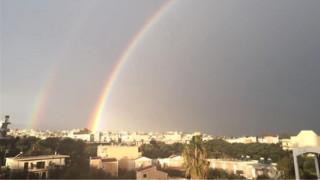 Κρήτη: Το διπλό ουράνιο τόξο που «μάγεψε» τους κατοίκους των Χανίων