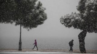 Η «Υπατία» σαρώνει τη Θεσσαλονίκη: Χιονίζει (ξανά) στο κέντρο της πόλης
