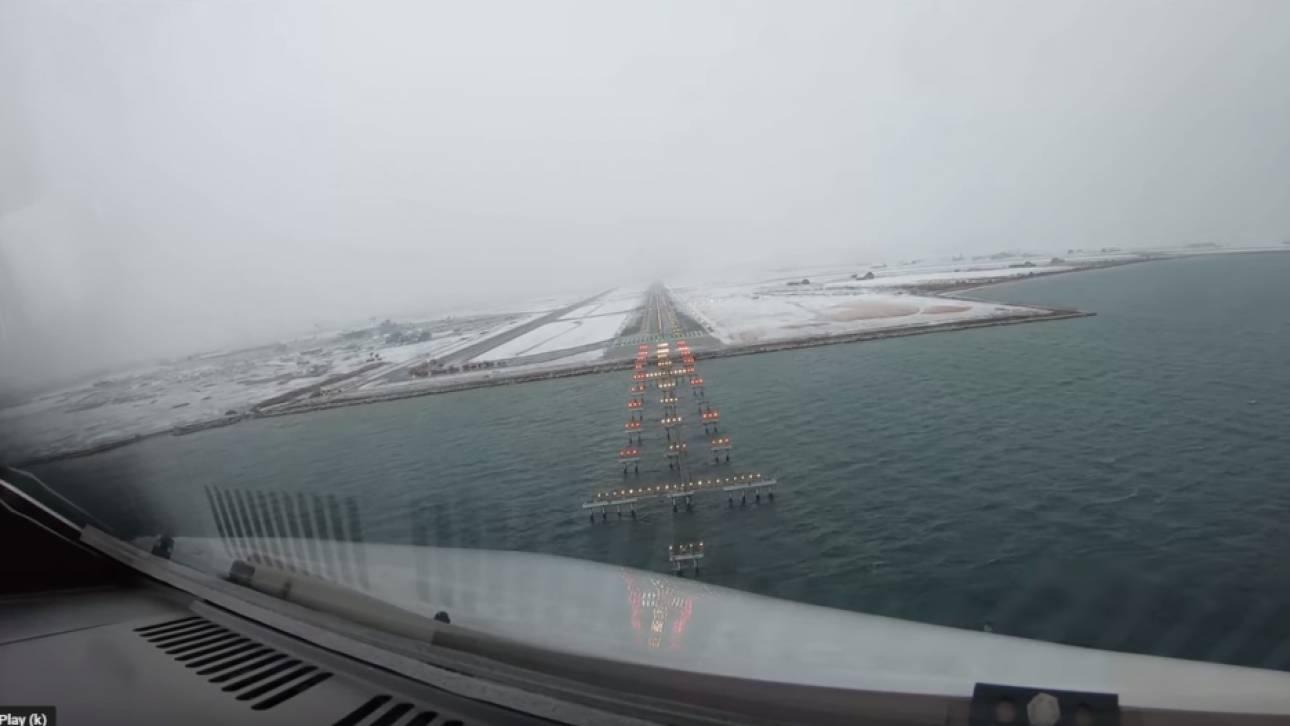 Εντυπωσιακό βίντεο: Πιλότος καταγράφει την προσγείωσή του στο χιονισμένο αεροδρόμιο Μακεδονία