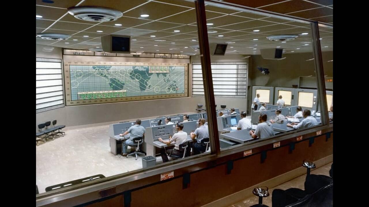 Το κέντρο ελέγχου Mercury στο Cape Canaveral, από όπου εποπτεύθηκαν επτά επανδρωμένες διαστημικές αποστολές μεταξύ του Μαΐου 1961 και του Μαρτίου 1965.