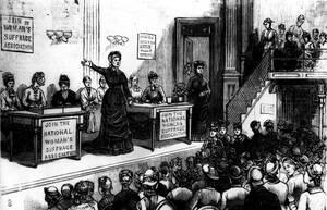 Ξύλινο σκάλισμα της συνόδου του Συνδέσμου Σουφραζετών ΗΠΑ στο Σικάγο, το 1880.