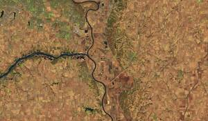 Το σημείο «συνάντησης» των ποταμών Platte και Μissouri, στην πόλη La Platte της Νεμπράσκα, στις 20 Μαρτίου του 2018...