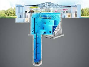 Μεταξύ άλλων, η πισίνα θα έχει και μία «μπλε τρύπα», που στην ουσία είναι μια βαθιά οπή που φτάνει σε βάθος 45 μέτρων.