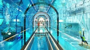 Σύμφωνα με το σχέδιο, οι διάφορες αίθουσες που θα βρίσκονται γύρω από την πισίνα θα έχουν επίσης θέα στο εσωτερικό της.