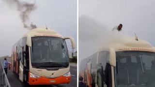 Στις φλόγες λεωφορείο του ΚΤΕΛ Θεσσαλονίκης