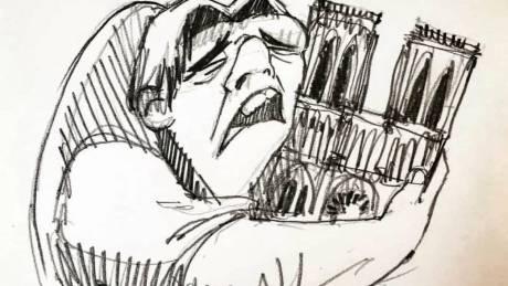 Τα δάκρυα του Κουασιμόδου για την Παναγία των Παρισίων – Συγκλονιστικά σκίτσα από την καταστροφή