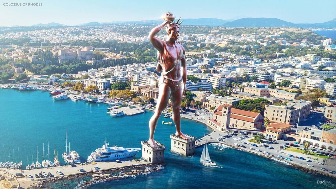 Κολοσσός της Ρόδου: Ήταν ένα μπρούτζινο άγαλμα 32 μέτρων το οποίο είχε κατασκευαστεί πάνω σε δύο βάσεις 15 μέτρων και έστεκε στο λιμάνι του ελληνικού νησιού. Καταστράφηκε κατά τη διάρκεια του σεισμού της Ρόδου το 226 π.Χ.