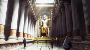 Άγαλμα του Ολυμπίου Διός: Ήταν ένα κολοσσιαίο άγαλμα 13 μέτρων κατασκευασμένο από χρυσό και ελεφαντόδοντο. Ήταν τοποθετημένο στο ναό του Διός, στο Ιερό της Ολυμπίας. Τόσο ο ναός όσο και το άγαλμα καταστράφηκαν ολοσχερώς κατά τη διάρκεια φωτιάς.