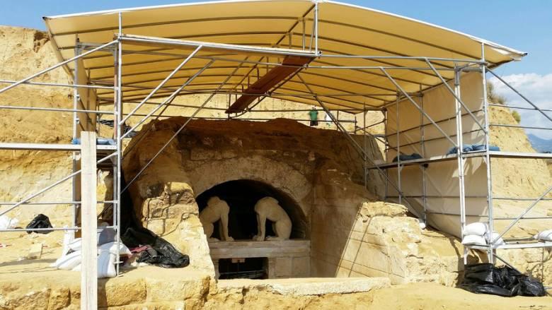 Στο Αρχαιολογικό Μουσείο Αμφίπολης η κεφαλή Σφίγγας από το μνημείο
