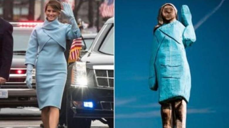 Μελάνια ή... Στρουμφίτα; Το ξύλινο άγαλμα της Πρώτης Κυρίας διχάζει τα social media