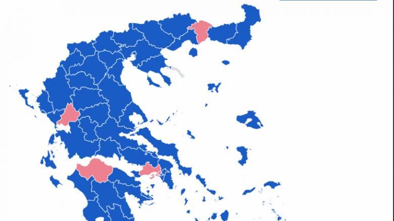 Αποτελέσματα εκλογών 2019: Η ΝΔ κερδίζει 51 από τις 59 εκλογικές περιφέρειες