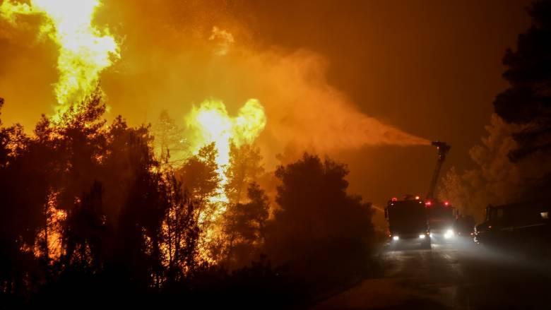 Νύχτα αγωνίας στην Εύβοια: Μάχη με τις φλόγες, τους ισχυρούς ανέμους και τις διαρκείς αναζωπυρώσεις