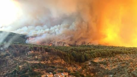 Φωτιά στην Εύβοια: Συγκλονιστικές εικόνες από τη «μάχη» με τις φλόγες του στρατού Ξηράς