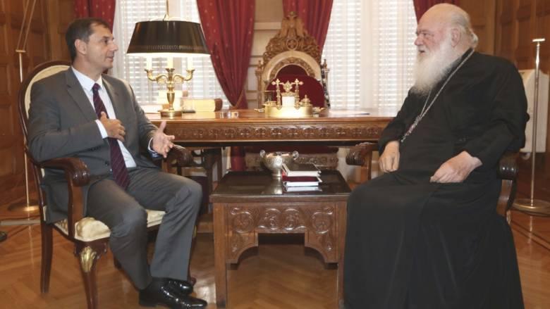 Συνάντηση Χ. Θεοχάρη με Αρχιεπίσκοπο Ιερώνυμο