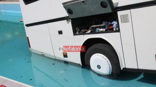 Κεφαλονιά: Λεωφορείο βρέθηκε μέσα σε πισίνα