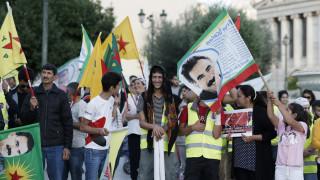 Πορεία διαμαρτυρίας Κούρδων στο κέντρο της Αθήνας για την τουρκική εισβολή στην Συρία