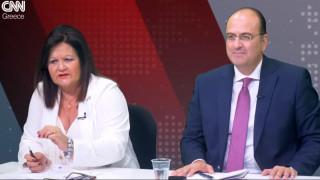 Αντιλογίες: Χαρά Καφαντάρη και Μακάριος Λαζαρίδης στο στούντιο του CNN Greece
