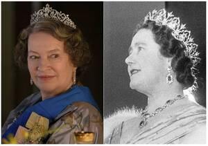 Η Μάριον Μπέιλι (αριστερά), στο ρόλο της βασίλισσας Ελισάβετ, μητέρας της σημερινής βασίλισσας.