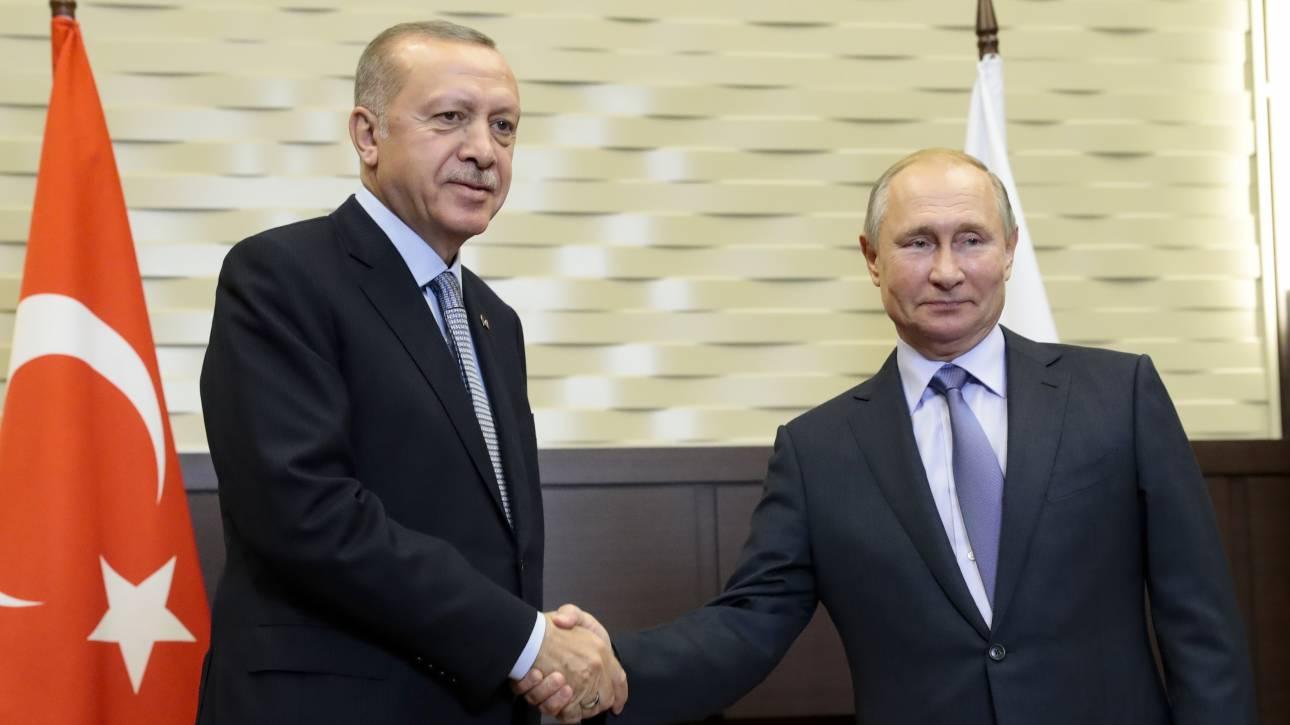 Τηλεφωνική επικοινωνία Πούτιν - Ερντογάν για τη Λιβύη
