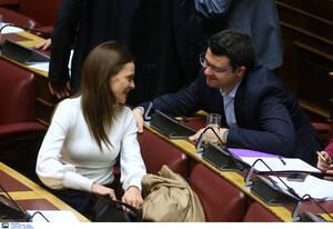 Η βουλευτής Επικρατείας και τομεάρχης Εργασίας και Κοινωνικής Ασφάλισης του ΣΥΡΙΖΑ, Έφη Αχτσιόγλου με τον βουλευτή του ΣΥΡΙΖΑ Μάριο Κάτση