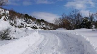 Καμένα Βούρλα: Πάνω από μισό μέτρο το χιόνι στον οικισμό Καρυά