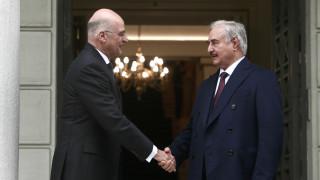 Συνάντηση Δένδια - Χαφτάρ: «Η Ελλάδα θα στηρίξει με όλες της τις δυνάμεις τη λύση στη Λιβύη»